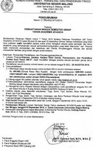 PENGUMUMAN WISUDA SMT GENAP 2014-2014