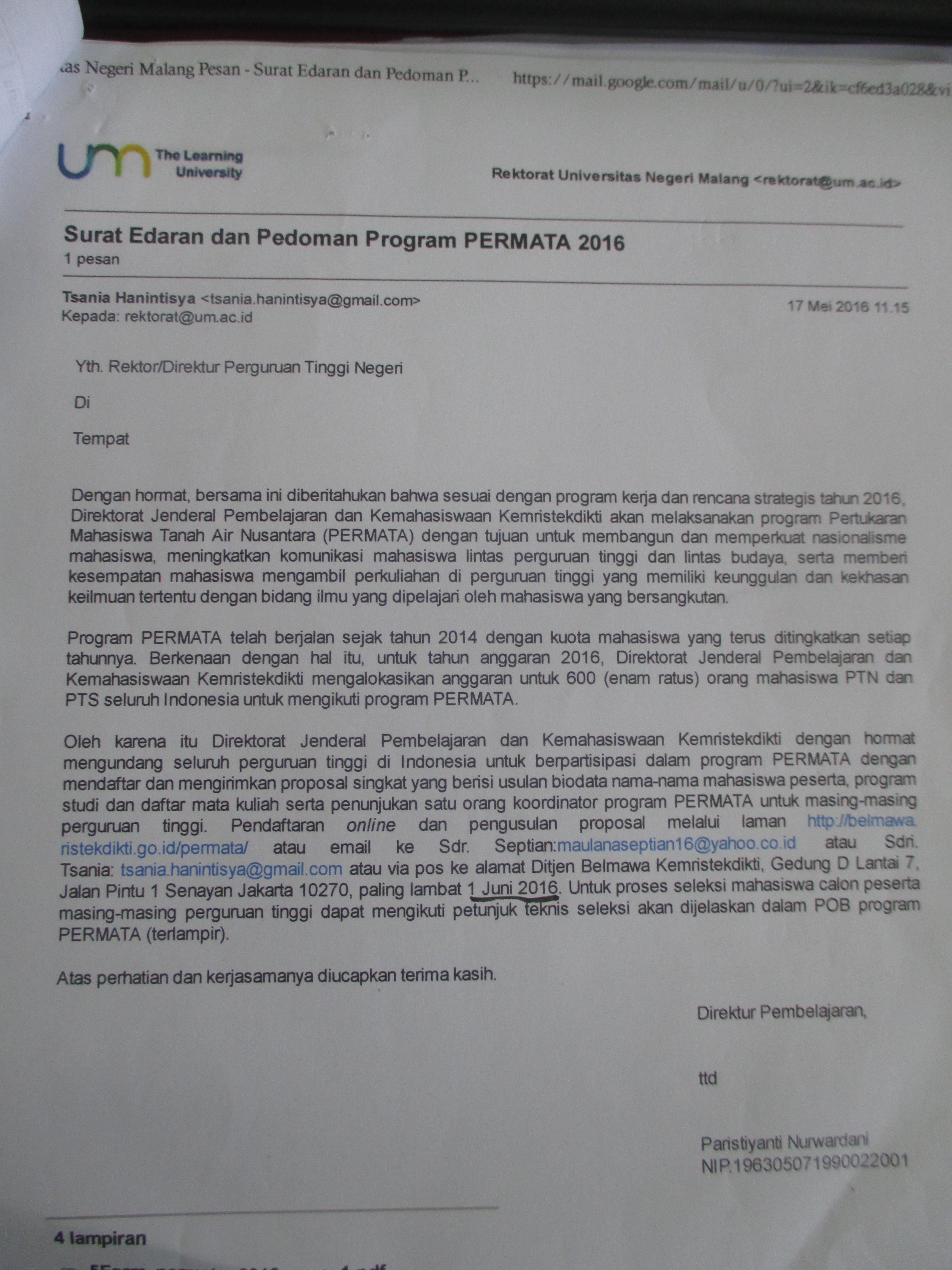 Surat Edaran dan Pedoman PERMATA 2016