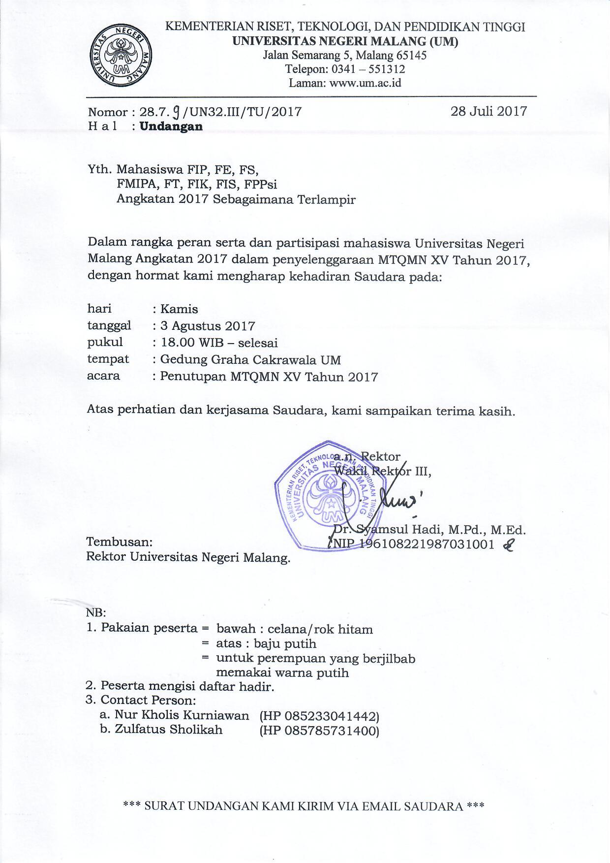 Surat Undangan 2879 Kemahasiswaan Universitas Negeri Malang
