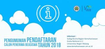Pengumuman Pendaftaran Calon Penerima Beasiswa Tahun 2018