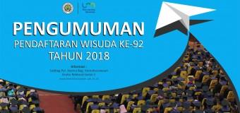 Pengumuman Pendaftaran Wisuda Ke-92 Tahun 2018