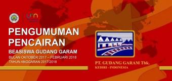 Pengumuman Pencairan Beasiswa Gudang Garam Bulan Oktober 2017 – Februari 2018  Tahun Anggaran 2017/2018