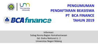 Pengumuman Pendaftaran PT BCA Finance Peduli 2019