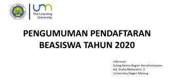 Pendaftaran Calon Penerima Beasiswa Tahun 2020