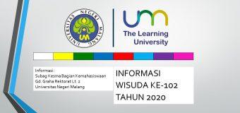 Pengumuman Pendaftaran Wisuda Ke-102 Tahun 2020