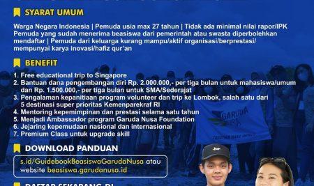Beasiswa Garuda Nusa Scholarship 2021