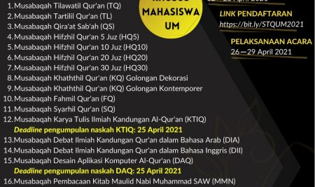 Seleksi Tilawatil Qur'an (STQ) Universitas Negeri Malang Tahun 2021